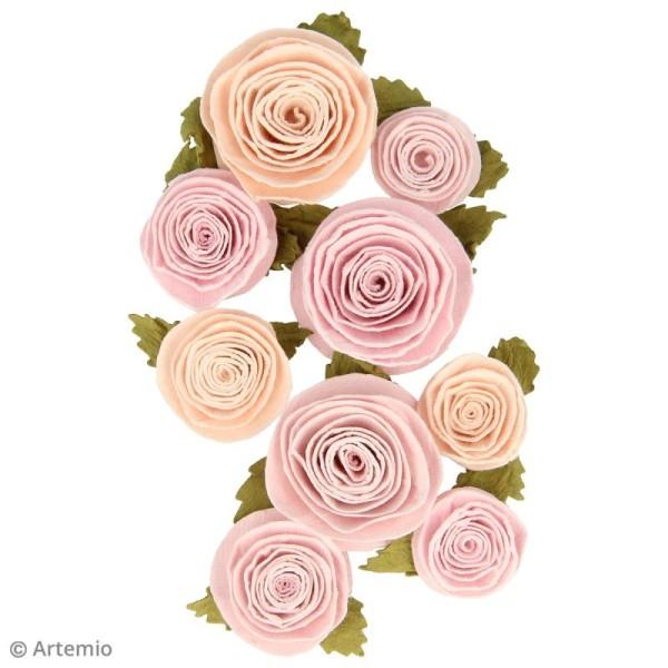 Fleur en papier Artemio Jardin secret - 3 à 3,5 cm - Vieux rose - 9 pcs - Photo n°2