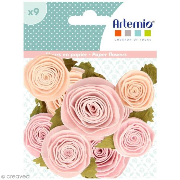 Fleur en papier Artemio Jardin secret - 3 à 3,5 cm - Vieux rose - 9 pcs - Photo n°1