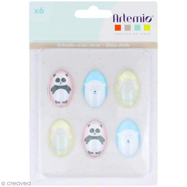 Cabochon Ovale Artemio - Adorable - 2 x 3 cm - 6 pcs - Photo n°1