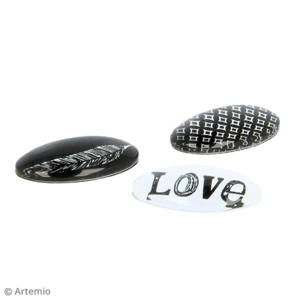 Cabochon Ovale Artemio - Black & white - 2 x 3 cm - 6 pcs - Photo n°3