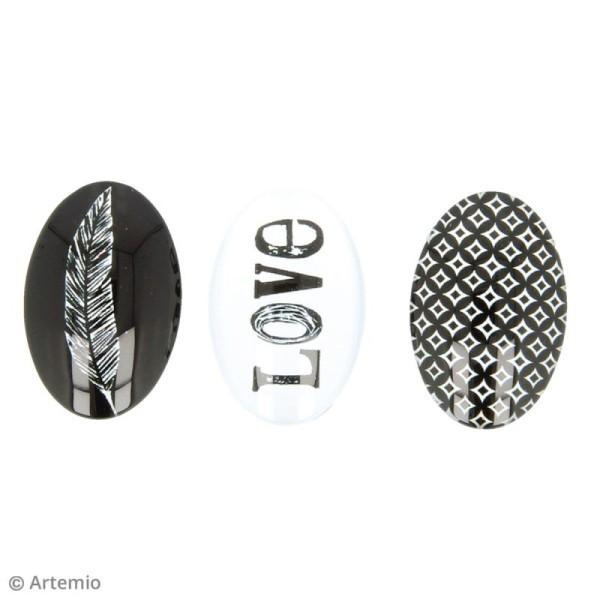 Cabochon Ovale Artemio - Black & white - 2 x 3 cm - 6 pcs - Photo n°4