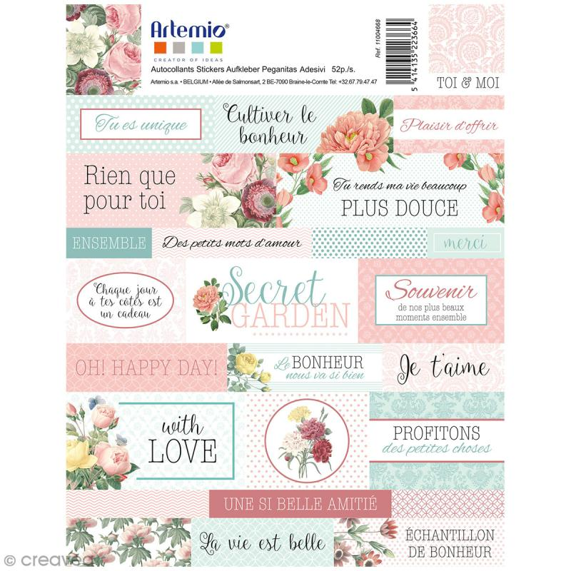 Stickers Artemio textes - Jardin secret - 1 planche 15,5 x 16 cm - Photo n°1