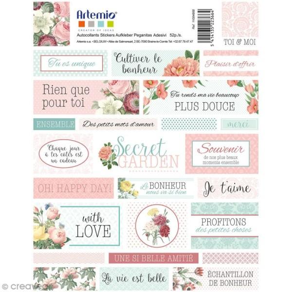 Stickers Artemio textes - Jardin secret - 1 planche 15,5 x 16 cm - Photo n°2