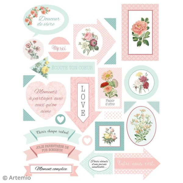 Stickers Artemio textes - Jardin secret - 1 planche 15,5 x 16 cm - Photo n°3