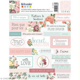 Stickers Artemio textes - Jardin secret - 1 planche 15,5 x 16 cm