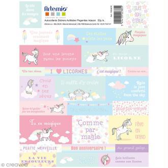 Stickers Artemio textes - Rainbow Licorne - 1 planche 15,5 x 16 cm