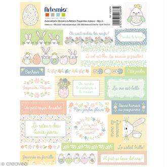 Stickers Artemio textes - Pâques - 1 planche 15,5 x 16 cm