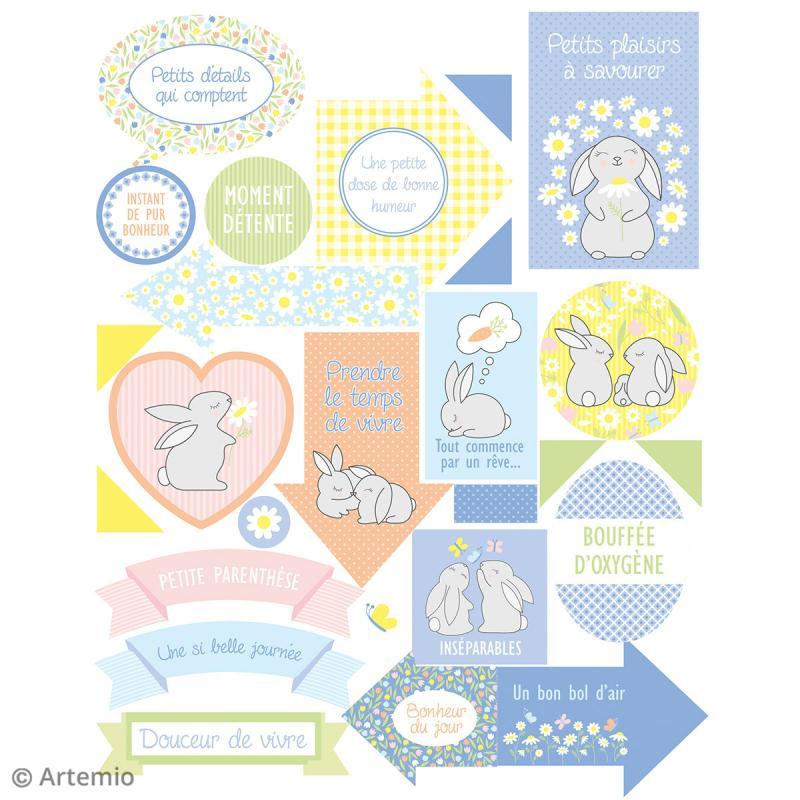 Stickers Artemio textes - Lapin de Pâques - 1 planche 15,5 x 16 cm - Photo n°2