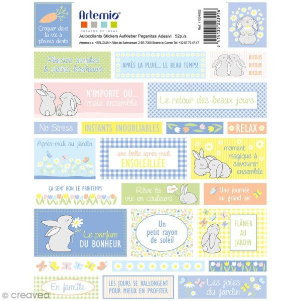 Stickers Artemio textes - Lapin de Pâques - 1 planche 15,5 x 16 cm - Photo n°1