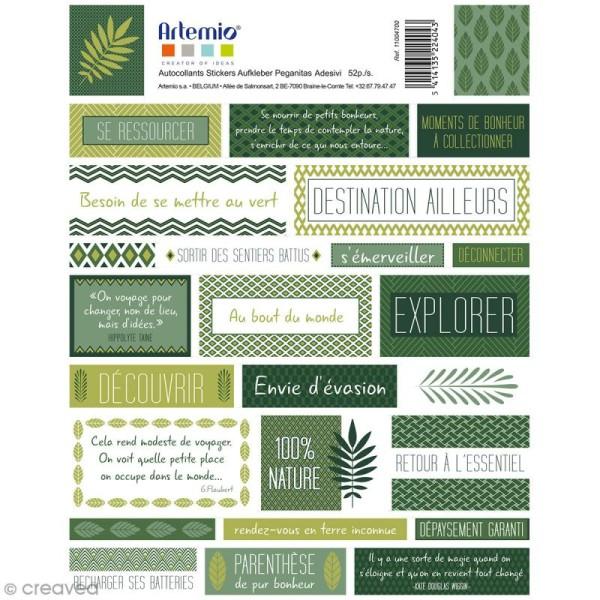 Stickers Artemio textes - Deep green - 1 planche 15,5 x 16 cm - Photo n°2