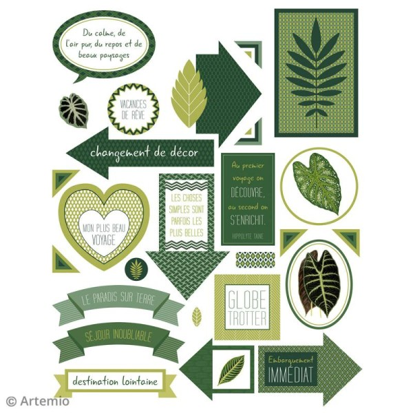 Stickers Artemio textes - Deep green - 1 planche 15,5 x 16 cm - Photo n°4