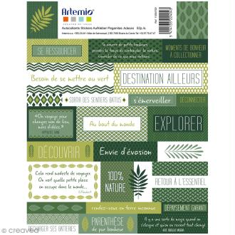 Stickers Artemio textes - Deep green - 1 planche 15,5 x 16 cm
