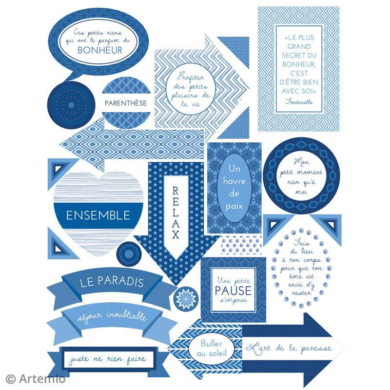 Stickers Artemio textes - Blue ethnic - 1 planche 15,5 x 16 cm - Photo n°3