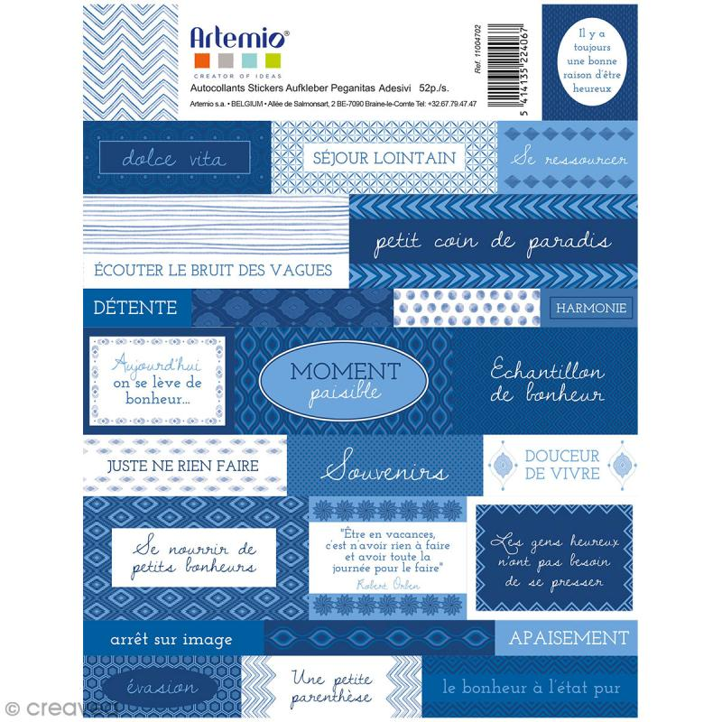 Stickers Artemio textes - Blue ethnic - 1 planche 15,5 x 16 cm - Photo n°1
