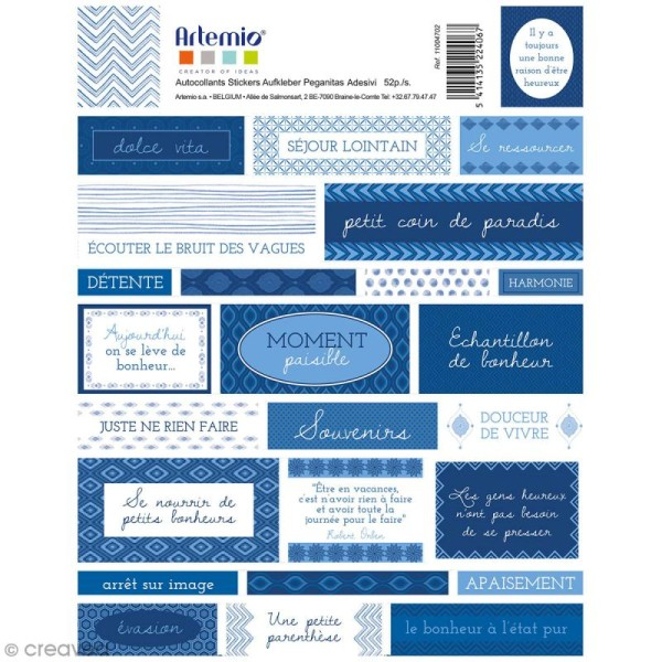 Stickers Artemio textes - Blue ethnic - 1 planche 15,5 x 16 cm - Photo n°2