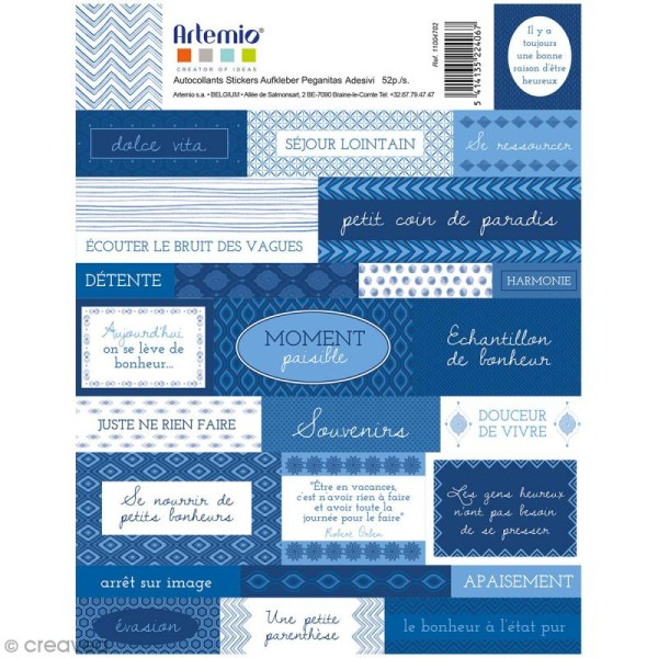 Stickers Artemio textes - Blue ethnic - 1 planche 15,5 x 16 cm - Photo n°1