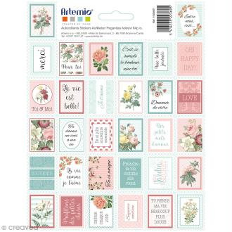 Stickers timbre décoratifs Jardin secret - 3,3 x 2,7 cm - 64 pcs
