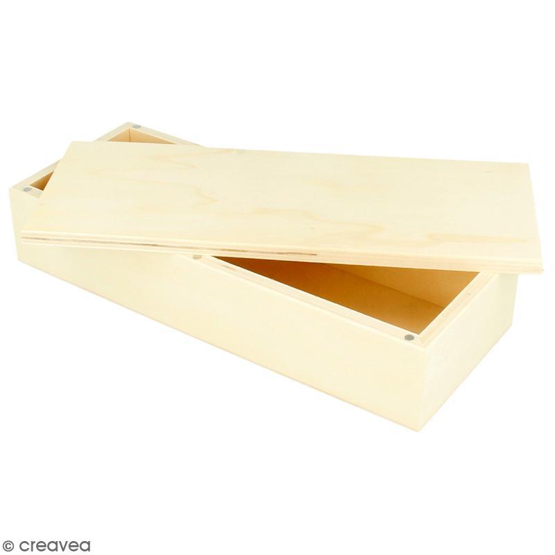 Boîte rectangulaire en bois à décorer- 23 x 9 cm - Photo n°1