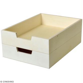 Bac à courrier en bois à décorer - 21 x 30 cm - 2 pcs