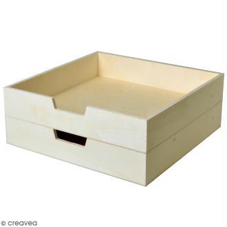 Bac à courrier en bois à décorer - 30 x 30 cm - 2 pcs