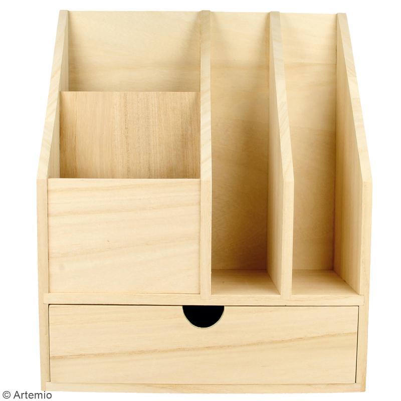 Organiseur de bureau en bois à décorer - 24 x 30 x 11,5 cm - Photo n°2