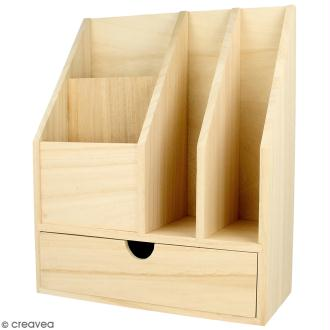 Organiseur de bureau en bois à décorer - 24 x 30 x 11,5 cm