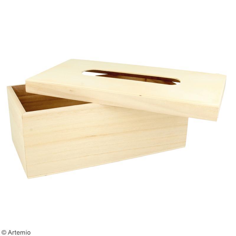 Boite à mouchoir à couvercle en bois à décorer - 27 x 15 cm - Photo n°2