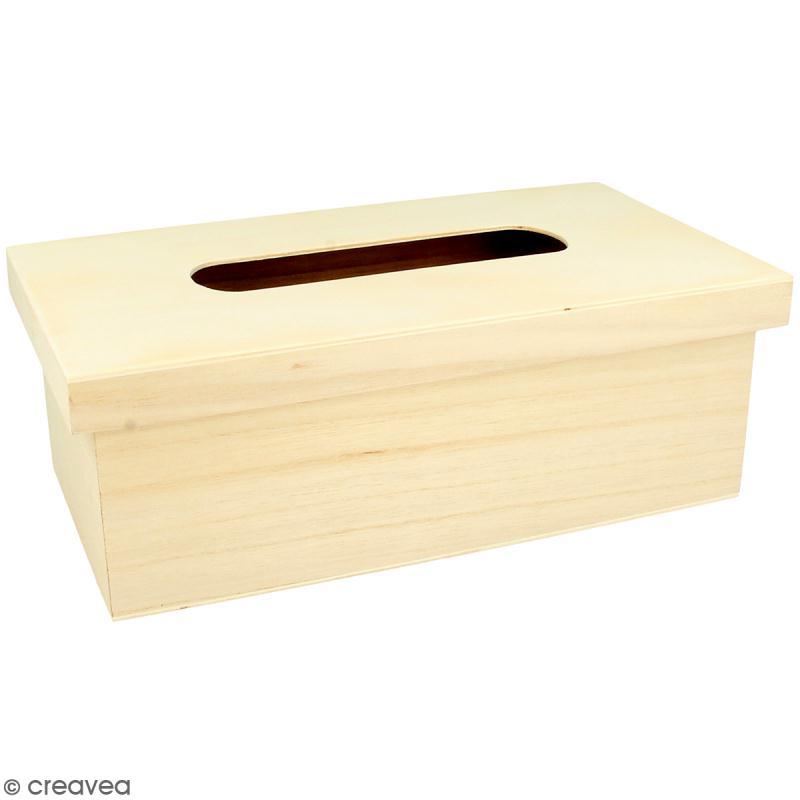 Boite à mouchoir à couvercle en bois à décorer - 27 x 15 cm - Photo n°1