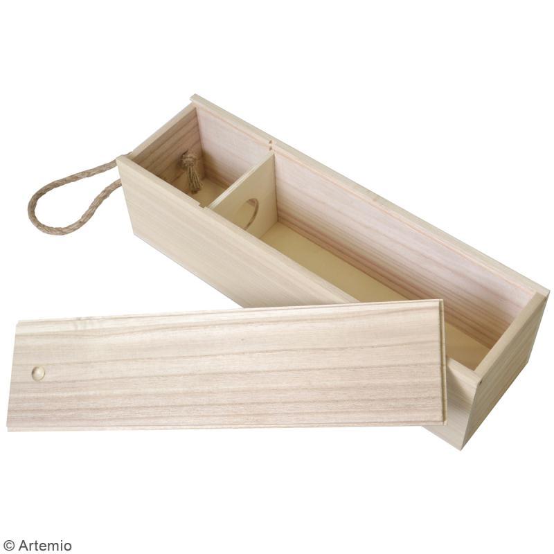 Boîte à bouteille en bois à décorer - 10 x 35 cm - Photo n°2