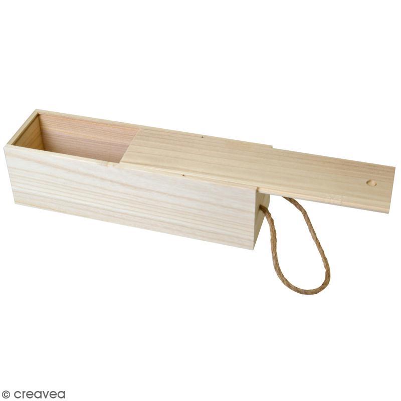 Boîte à bouteille en bois à décorer - 10 x 35 cm - Photo n°1