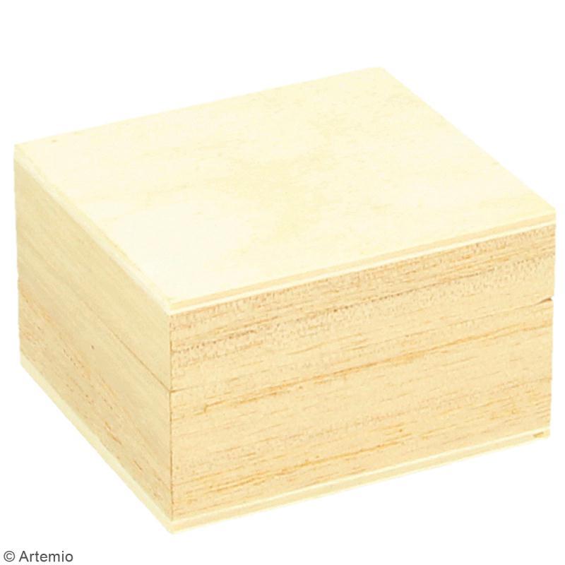 Boîte à bague en bois à décorer - 5 x 5 cm - Photo n°3