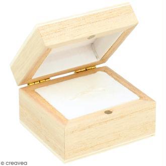 Boîte à bague en bois à décorer - 5 x 5 cm