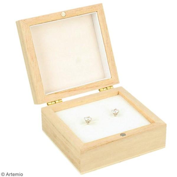 Boîte à boucles d'oreilles en bois à décorer - 7 x 6,5 cm - Photo n°2