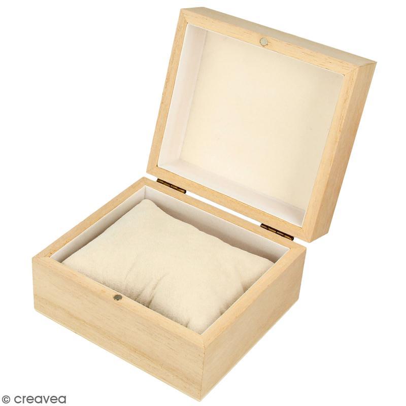 Boîte à montre en bois à décorer - 10 x 9 cm - Photo n°1