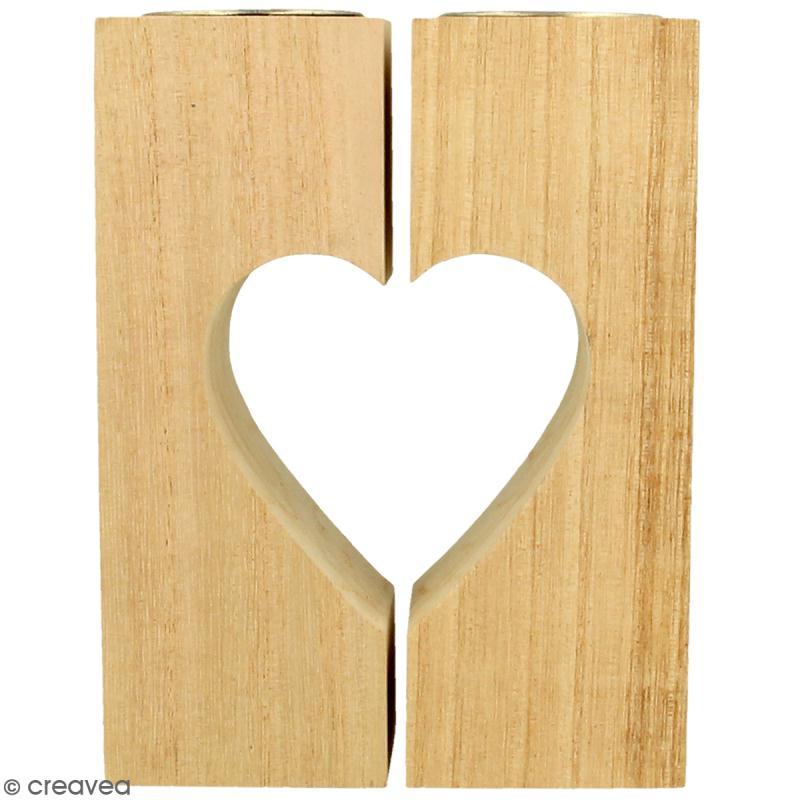 Bougeoirs coeur en bois à décorer - 11 x 15 cm - 2pcs - Photo n°1
