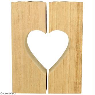 Bougeoirs coeur en bois à décorer - 11 x 15 cm - 2pcs