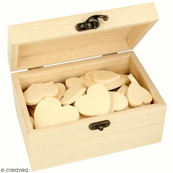 Petite boîte coffre et coeurs en bois à décorer - 15 x 10 x 8 cm - 54 pcs - Photo n°1