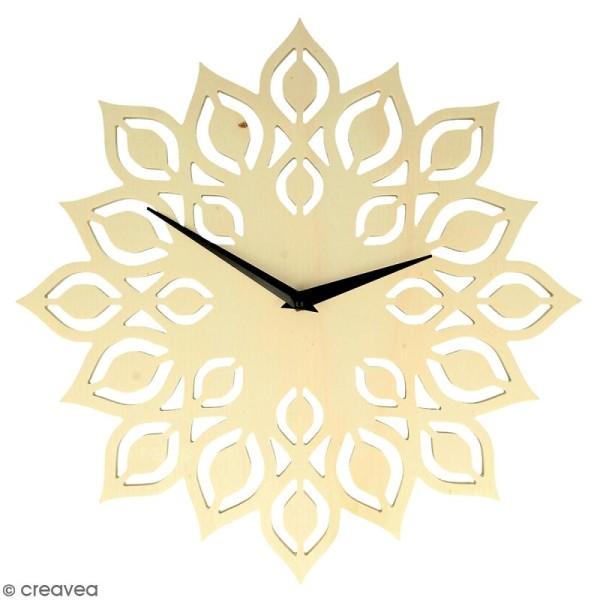Horloge en bois à décorer ronde - Fleur - 30 cm - Photo n°1