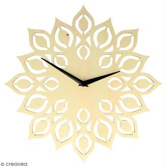 Horloge en bois à décorer ronde - Fleur - 30 cm