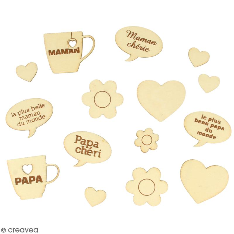Set de silhouettes en bois - Maman Papa - 15 pcs - Photo n°2
