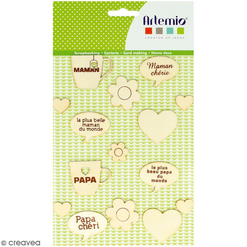Set de silhouettes en bois - Maman Papa - 15 pcs - Photo n°1