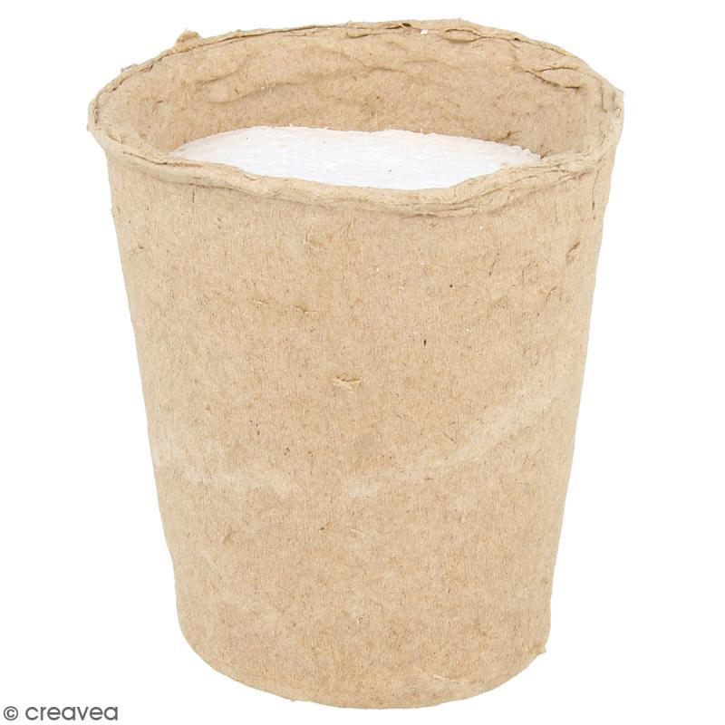 Pot papier mâché avec mousse polystyrène - 8,5 x 9 cm - Photo n°1