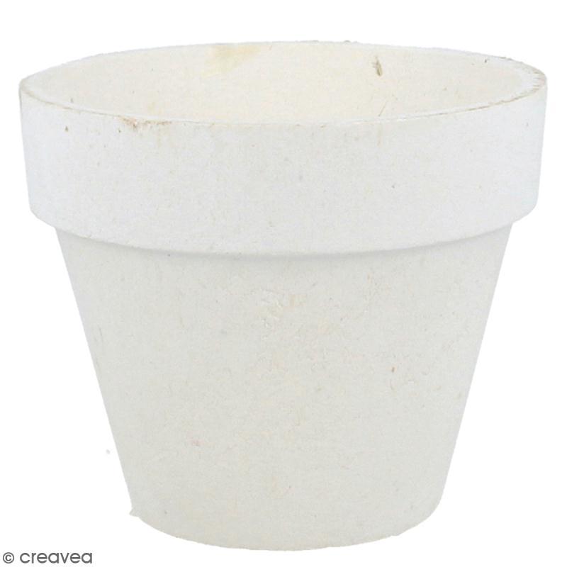 Pot papier mâché blanc avec mousse polystyrène - 8 x 9,5 cm - Photo n°1
