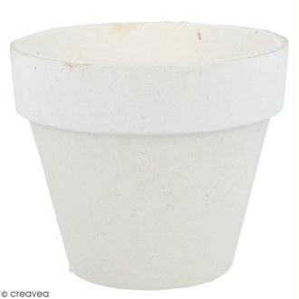 Pot papier mâché blanc avec mousse polystyrène - 8 x 9,5 cm