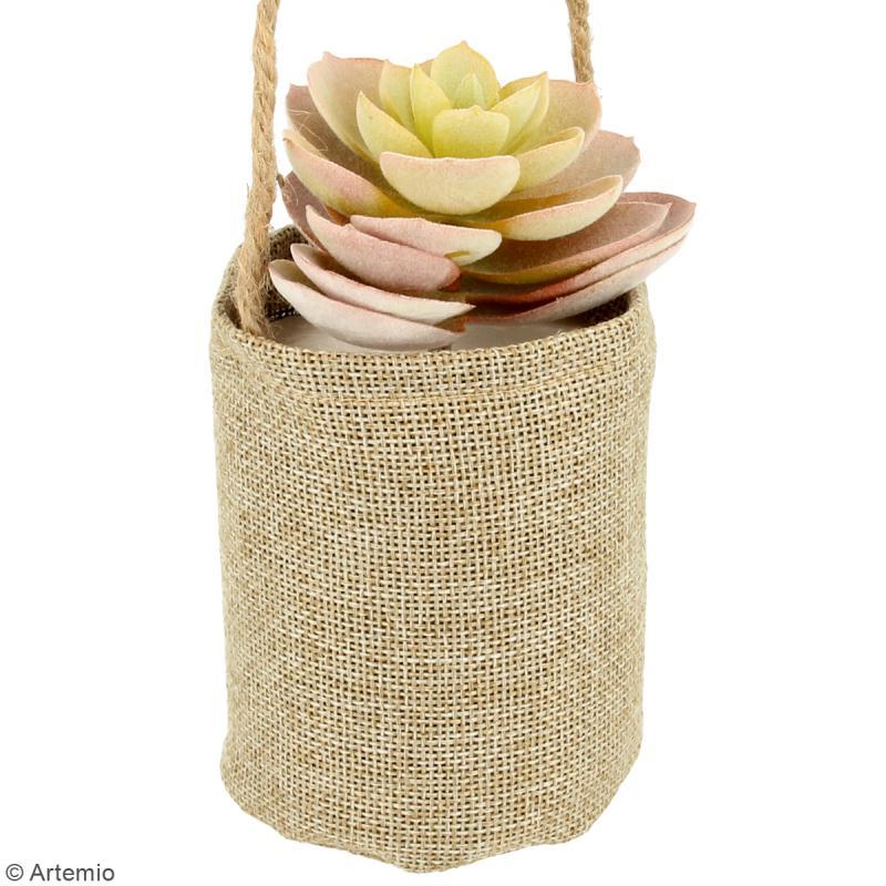sac en toile de jute avec mousse polystyr ne suspendre 7 5 x 9 cm pots et cache pots creavea. Black Bedroom Furniture Sets. Home Design Ideas