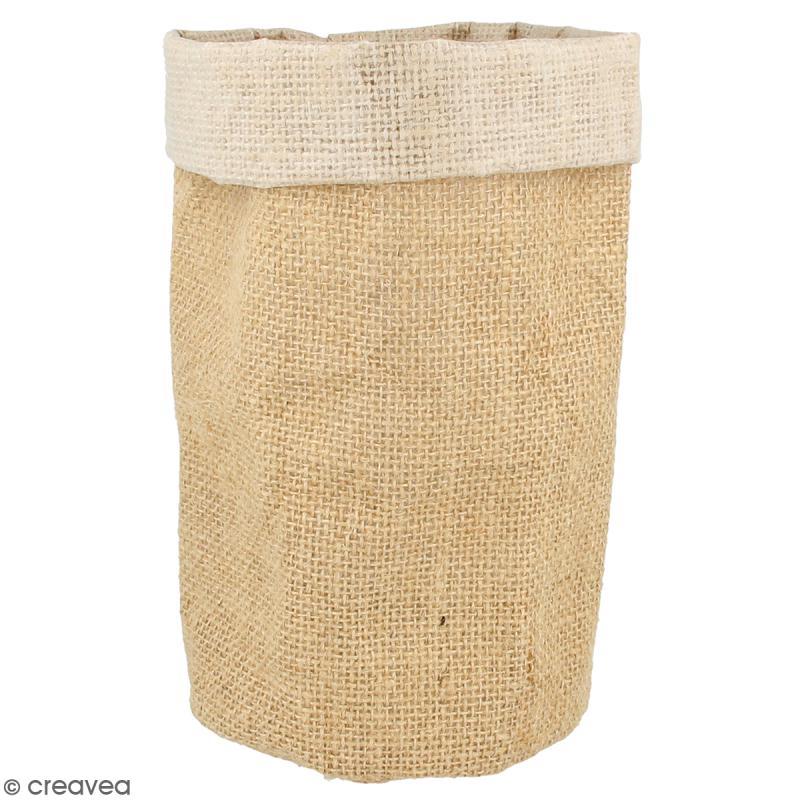 pot en toile de jute 12 x 19 cm pots et cache pots. Black Bedroom Furniture Sets. Home Design Ideas