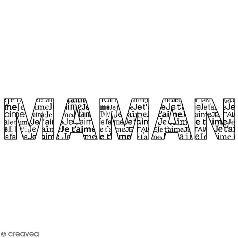 Tampon bois Je t'aime Maman - 2,6 x 10 cm - Photo n°1