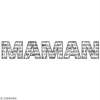 Tampon bois Je t'aime Maman - 2,6 x 10 cm