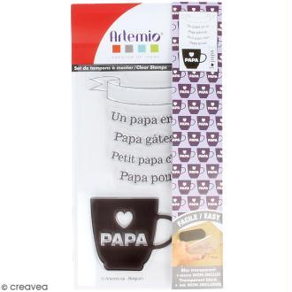Tampon clear Artemio - Papa en or - 7 pcs