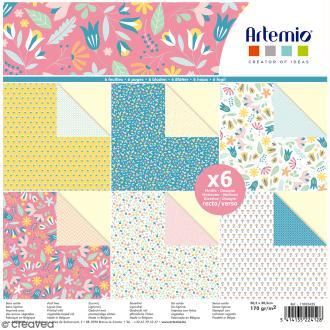 Papier scrapbooking Artemio - Fleurs de Printemps - 30,5 x 30,5 cm - 6 feuilles